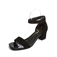 Women's Shoes PU Spring Summer Comfort Sandals Chunky Heel Open Toe Buckle For Dress Party & Evening Black Yellow Red