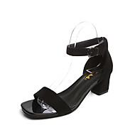 נשים נעליים PU אביב קיץ נוחות סנדלים עקב עבה פתוח בבוהן אבזם עבור שמלה מסיבה וערב שחור צהוב אדום