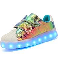 baratos Sapatos de Menino-Para Meninos Sapatos Couro Envernizado / Materiais Customizados / Courino Outono Conforto / Tênis com LED Tênis Velcro / LED para Preto /