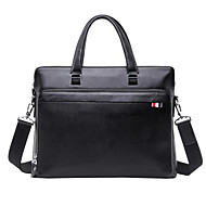 Men Bags Cowhide Briefcase Zipper for Outdoor All Season Black Coffee