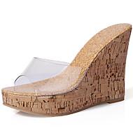 Feminino Sapatos Sintético Primavera Verão Conforto Chinelos e flip-flops Salto Plataforma Peep Toe para Casual Social Branco