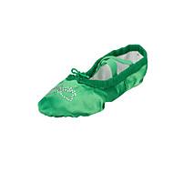 billige Ballettsko-Dame Ballett Silke Flate Innendørs Akryl Diamant Flat hæl Fuksia Grønn