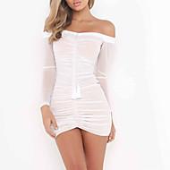 Dame I-byen-tøj A-linje Kjole - Ensfarvet Over knæet Bateau-hals Hvid