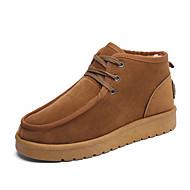 Masculino sapatos Camurça Outono Inverno Botas de Neve Forro de fluff Botas Cadarço Para Atlético Casual Preto Cinzento Khaki