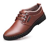Недорогие -Для мужчин обувь Натуральная кожа Зима Удобная обувь Туфли на шнуровке Назначение Повседневные Черный Коричневый