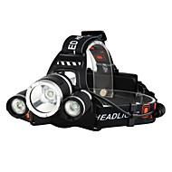 billige Sykkellykter og reflekser-Hodelykter Sykkellykter Frontlys til sykkel LED Cree® XM-L T6 3 emittere 3000 lm 4.0 lys tilstand med batterier og ladere Vanntett, Nedslags Resistent, Oppladbar Camping / Vandring / Grotte