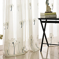 Rod Pocket Grommet Top Tab Top Double Pleat Pencil Pleat Curtain Contemporary , Embroidery Plaid Bedroom Polyester Blend Material Sheer