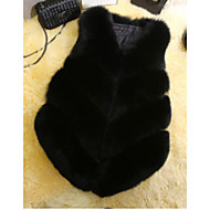 Women's Casual/Daily Simple Winter Fur Coat,Solid V Neck Long Sleeves Regular Others