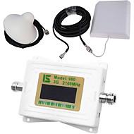 mini intelligent LCD-skjerm om 3G980 2100mhz mobiltelefon signal booster repeater med utendørs panel antenne / innendørs tak antenne hvit
