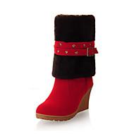 baratos Sapatos Femininos-Mulheres Sapatos Camurça Outono / Inverno Conforto / Inovador Botas Salto Plataforma Dedo Apontado Botas Curtas / Ankle Penas / Presilha