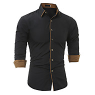Men's Cotton Slim Shirt - Solid Colored Basic Spread Collar / Long Sleeve
