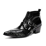 メンズ 靴 本革 オールシーズン コンバットブーツ ブーツ ブーティー/アンクルブーツ ベックル 用途 結婚式 パーティー ブラック