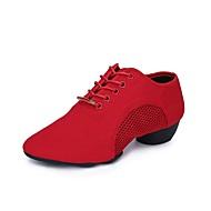 baratos Sapatilhas de Dança-Mulheres Sapatos de Dança Moderna Oxford / Tule Têni / Meia Solas Salto Baixo Sapatos de Dança Preto / Vermelho
