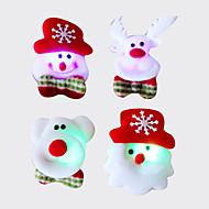 12st kerst santa broche broche flash stof lichtgevende kerstversiering kerst cadeau (stijl willekeurige)