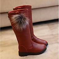 tanie Obuwie dziewczęce-Dla dziewczynek Buty Derma Zima Jesień Śniegowce Comfort Buciki na Casual Black Czerwony Burgundowy