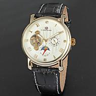 billige Mekaniske Ure-FORSINING Herre Automatisk Selv-optræk Armbåndsur Kalender / Månefase Læder Bånd Vintage / Mode Sort / Brun