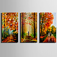 cheap Oil Paintings-Hand-Painted Landscape Vertical,Rustic Modern Three Panels Canvas Oil Painting For Home Decoration