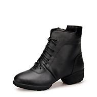 レディース ダンスブーツ レザー ブーツ 屋外用 ローヒール ブラック レッド