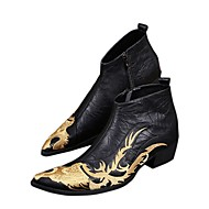 cheap Men's Boots-Men's Novelty Shoes Nappa Leather Fall / Winter Vintage Boots Booties / Ankle Boots Black / Wedding / Party & Evening / Party & Evening / Fashion Boots / Combat Boots