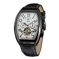 billige Mekaniske Ure-FORSINING Dame Automatisk Selv-optræk Armbåndsur Kalender / Sej PU Bånd Afslappet / Mode Sort