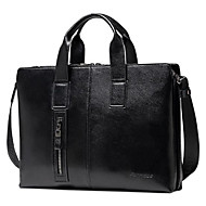 Men Bags Cowhide Briefcase Zipper for Casual All Season Black