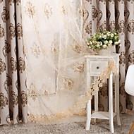 baratos Cortinas Transparentes-Anéis Duplo Plissado Único Plissado Tratamento janela Modern Floral Sala de Estar Mistura de poliéster Material Sheer Curtains Shades