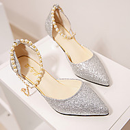 Damen High Heels Komfort PU Frühling Sommer Normal Kleid Komfort Imitationsperle Stöckelabsatz Gold Schwarz Silber 2,5 - 4,5 cm