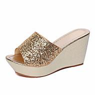 Feminino Sapatos Couro Ecológico Primavera Verão Conforto Sandálias Salto Plataforma para Casual Dourado Preto Prata