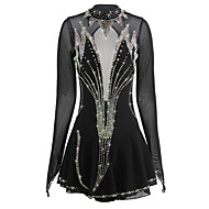 cheap -Figure Skating Dress Women's / Girls' Ice Skating Dress Black Open Back Spandex High Elasticity Competition Skating Wear Handmade Ice Skating / Figure Skating