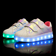 tanie Obuwie dziewczęce-Dla dziewczynek Buty PU Zima Jesień Świecące buty Comfort Tenisówki LED na Casual Na wolnym powietrzu White Różowy