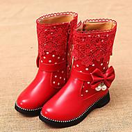 Χαμηλού Κόστους Παιδικές μπότες-Κοριτσίστικα Παπούτσια Δερματίνη Χειμώνας Ανατομικό / Μπότες Χιονιού Μπότες Περπάτημα Φερμουάρ για Μαύρο / Κόκκινο / Ροζ
