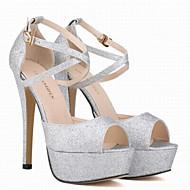 Damen Schuhe PU Frühling Sommer Komfort Sandalen Stöckelabsatz Peep Toe für Normal Gold Schwarz Silber Rot