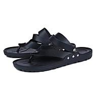 Masculino sapatos Couro Ecológico Borracha Verão Conforto Solados com Luzes Sandálias Para Casual Branco Preto