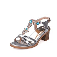 cheap Women's Sandals-Women's Shoes Leatherette Spring / Summer Comfort Sandals Chunky Heel Open Toe Buckle Gold / Silver / Purple
