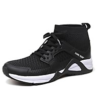 cheap Women's Athletic Shoes-Unisex Shoes Leather Tulle Winter Fall Comfort Athletic Shoes Walking Shoes Flat Heel for Athletic Outdoor Black Red Blue