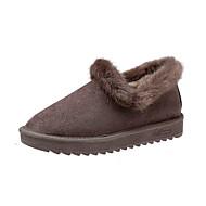 נשים נעליים PU אביב סתיו נוחות נעלי אוקספורד שטוח בוהן עגולה אבזם ל קזו'אל שחור אפור חום