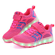baratos Sapatos de Menino-Para Meninos Sapatos Arrastão / Tecido Primavera / Inverno Conforto / Tênis com LED Tênis Velcro / LED para Azul / Rosa claro / Preto /