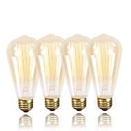 billige Glødelampe-GMY® 4stk 60W E26 / E27 ST64 Varm hvit 2200k Kontor / Bedrift Mulighet for demping Dekorativ Glødende Vintage Edison lyspære 220-240V