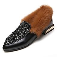 Naiset Kengät PU Talvi Comfort Mokkasiinit Matala korko Pointed Toe Tekojalokivi varten Kausaliteetti Musta Ruskea
