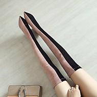 baratos Sapatos Femininos-Mulheres Sapatos Flocagem Outono / Inverno Conforto Botas Salto Robusto Dedo Apontado Carregadores coxa-alta Preto