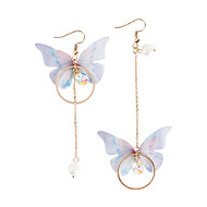 Women's Pearl Mismatched Long Drop Earrings Imitation Pearl Earrings Butterfly Ladies Fashion Jewelry Gold For Party
