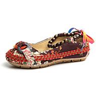 abordables -Femme Chaussures Tissu Printemps Automne Confort Ballerines Talon Plat pour Décontracté Noir Beige Marron Rouge