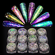 cheap Nail Art-1set Broken Glass Effect Chameleon Laser Holographic Nail Glitter Glitter Powder Powder Nail Art Tips Nail Art Design