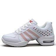 baratos Sapatilhas de Dança-Mulheres Tênis de Dança Tule / Courino Têni Recortes Sem Salto Personalizável Sapatos de Dança Branco