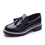 cheap Women's Slip-Ons & Loafers-Women's Shoes Leatherette Spring Fall Novelty Comfort Loafers & Slip-Ons Wedge Heel Round Toe Draping for Casual Office & Career Black Red