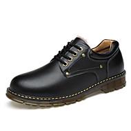 tanie Small Size Shoes-Męskie Buty Derma Skóra Zima Jesień Podszewka Fluff Oksfordki na Casual Black Brown