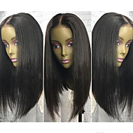 Kvinder Blondeparykker af menneskehår Brasiliansk Menneskehår Blonde Front 130% Massefylde Bob frisure Med babyhår Ret Paryk Jet Sort