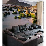billige Tapet-Art Deco 3D Stein Hjem Dekor Moderne Rustikk Tapetsering, Lerret Materiale selvklebende nødvendig Veggmaleri, Tapet