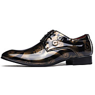 tanie Obuwie męskie-Męskie Buty Skóra patentowa Wiosna Jesień Comfort Oksfordki na Casual Gold Gray Niebieski Burgundowy