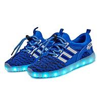 tanie Obuwie chłopięce-Dla chłopców Obuwie Dzianina Wiosna Świecące buty Adidasy LED na Czarny / Niebieski / Jasnozielony